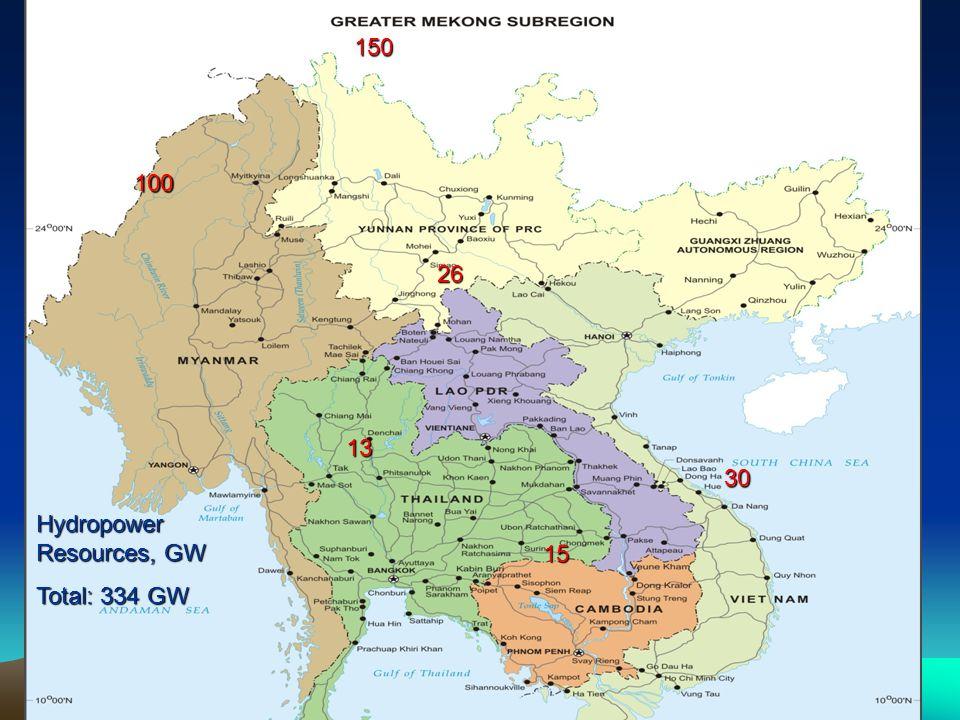 Hydropower Resources, GW Total: 334 GW 15 26 100 13 30 150