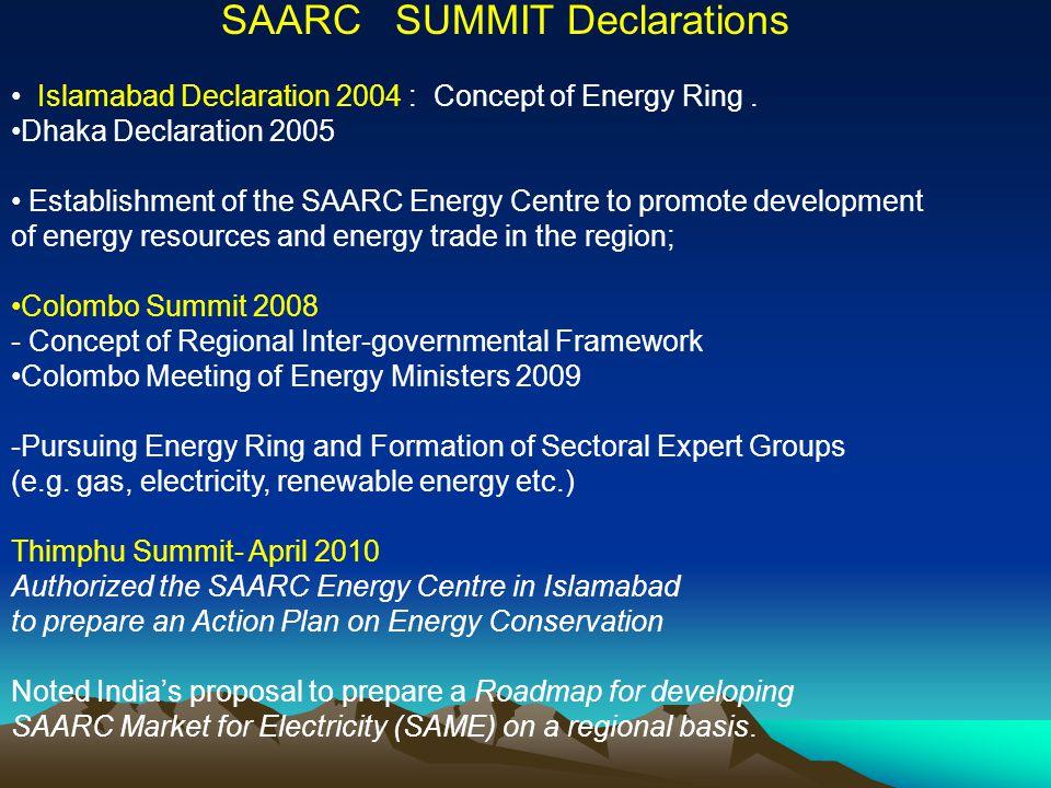 SAARC SUMMIT Declarations Islamabad Declaration 2004 : Concept of Energy Ring. Dhaka Declaration 2005 Establishment of the SAARC Energy Centre to prom