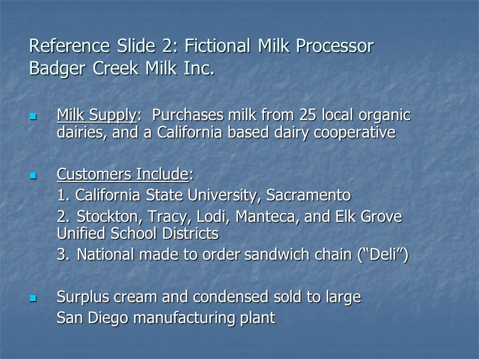 Reference Slide 2: Fictional Milk Processor Badger Creek Milk Inc.