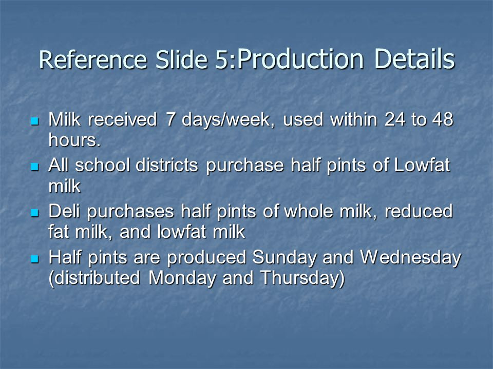 Reference Slide 5: Production Details Milk received 7 days/week, used within 24 to 48 hours.