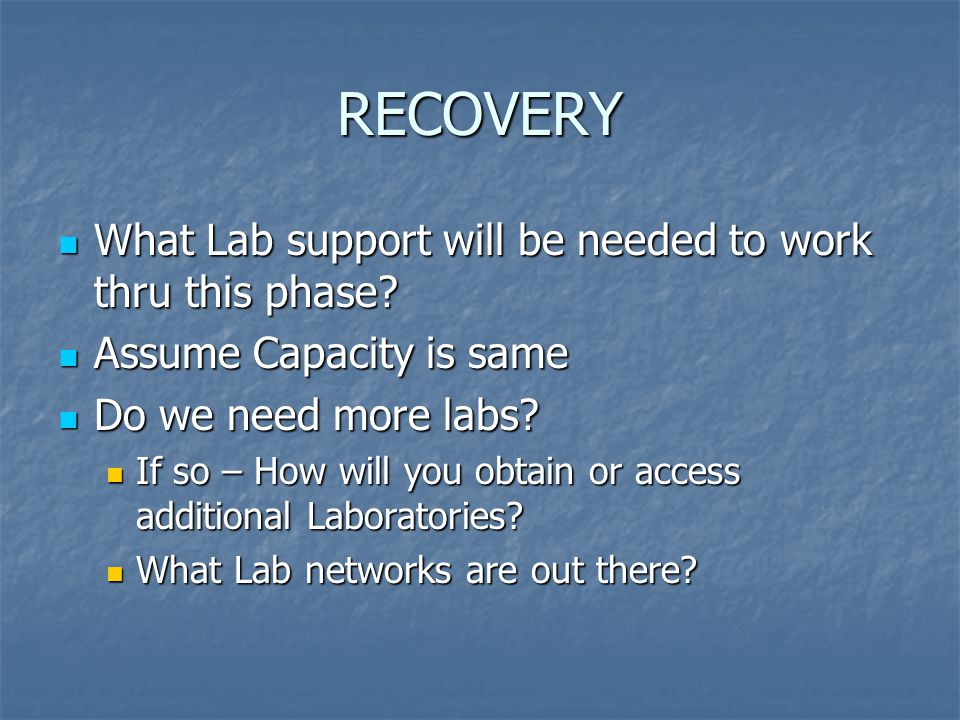RECOVERY What Lab support will be needed to work thru this phase.