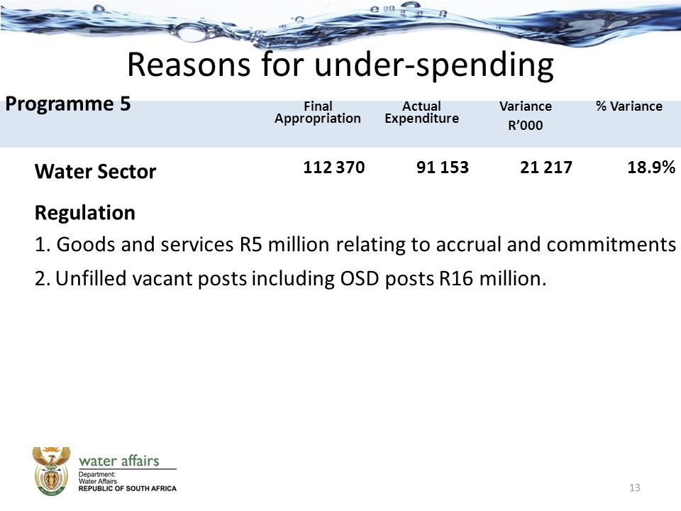 Reasons for under-spending Programme 5 Final Appropriation Actual Expenditure Variance R'000 % Variance Water Sector Regulation 112 37091 15321 21718.9% 1.