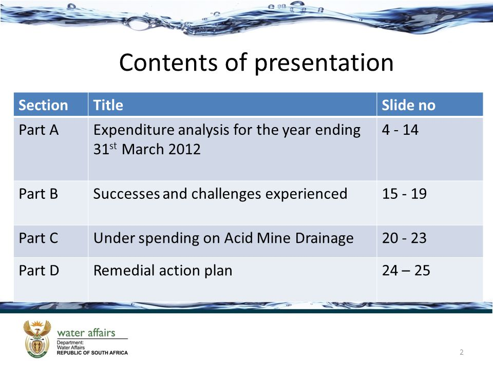 SectionTitleSlide no Part AExpenditure analysis for the year ending 31 st March 2012 4 - 14 Part BSuccesses and challenges experienced15 - 19 Part CUnder spending on Acid Mine Drainage20 - 23 Part DRemedial action plan24 – 25 Contents of presentation 2