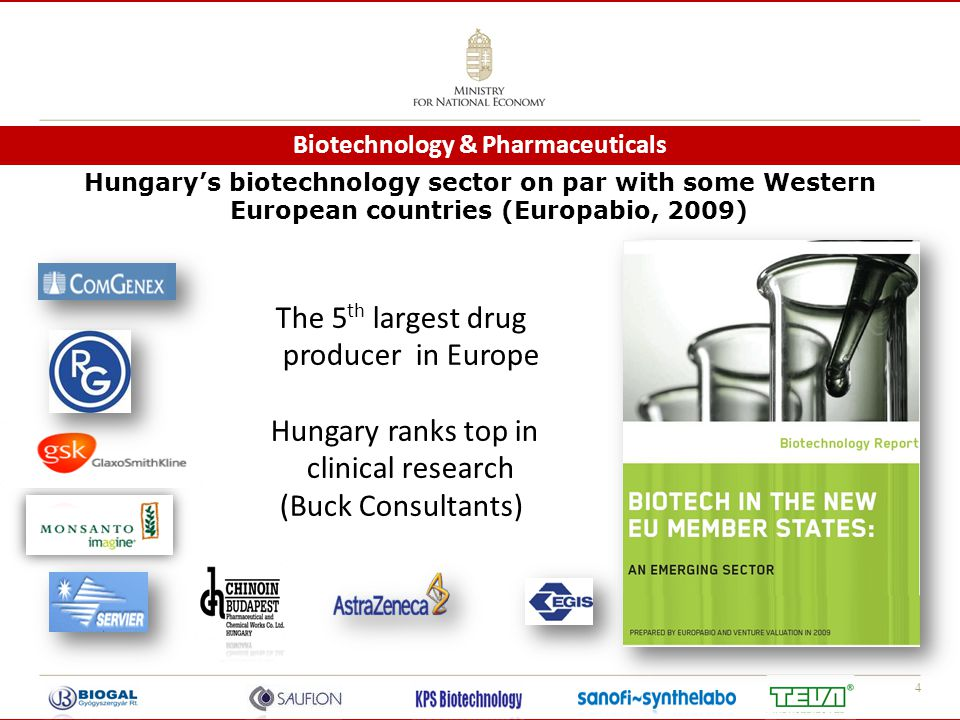 4 Biotechnology & Pharmaceuticals The 5 th largest drug producer in Europe Hungary ranks top in clinical research (Buck Consultants) Hungary's biotech