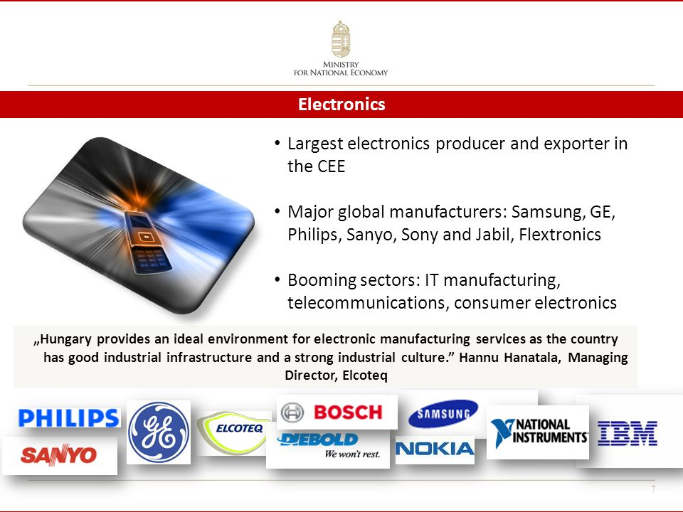 "7 Largest electronics producer and exporter in the CEE Major global manufacturers: Samsung, GE, Philips, Sanyo, Sony and Jabil, Flextronics Booming sectors: IT manufacturing, telecommunications, consumer electronics Electronics ""Hungary provides an ideal environment for electronic manufacturing services as the country has good industrial infrastructure and a strong industrial culture. Hannu Hanatala, Managing Director, Elcoteq"