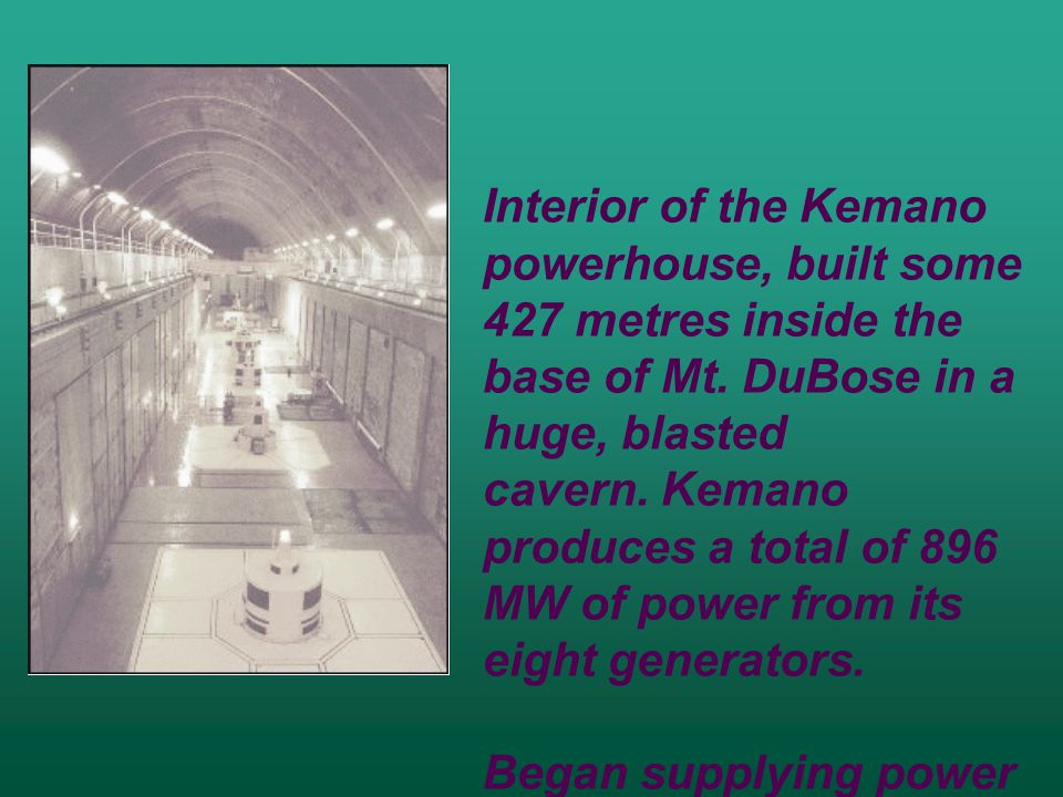 Interior of the Kemano powerhouse, built some 427 metres inside the base of Mt.