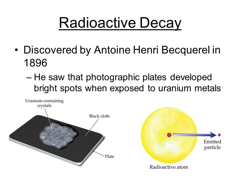 Radioactive Decay Discovered by Antoine Henri Becquerel in 1896 –He saw that photographic plates developed bright spots when exposed to uranium metals