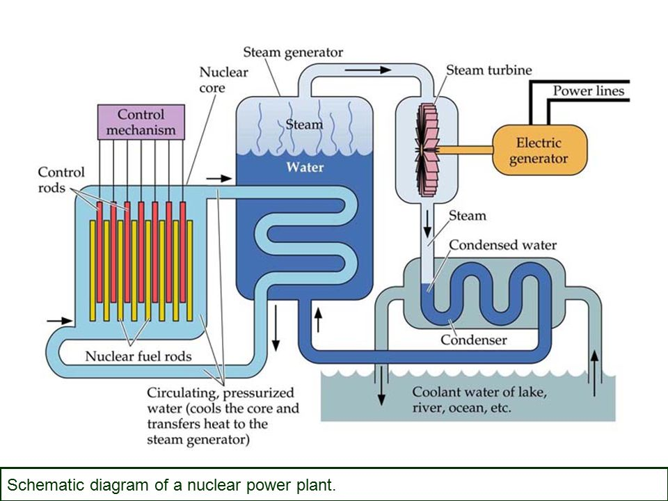 Schematic diagram of a nuclear power plant.