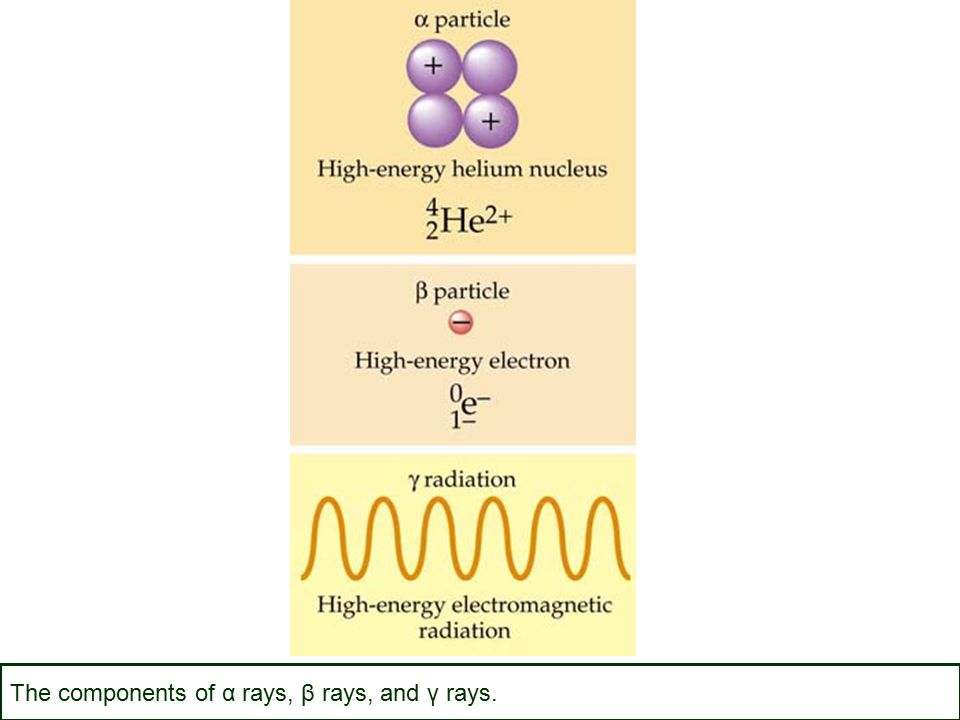 The components of α rays, β rays, and γ rays.