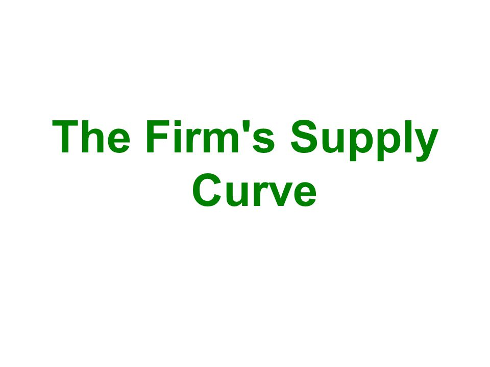 The Firm s Supply Curve