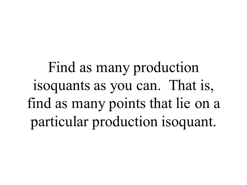 Find as many production isoquants as you can.