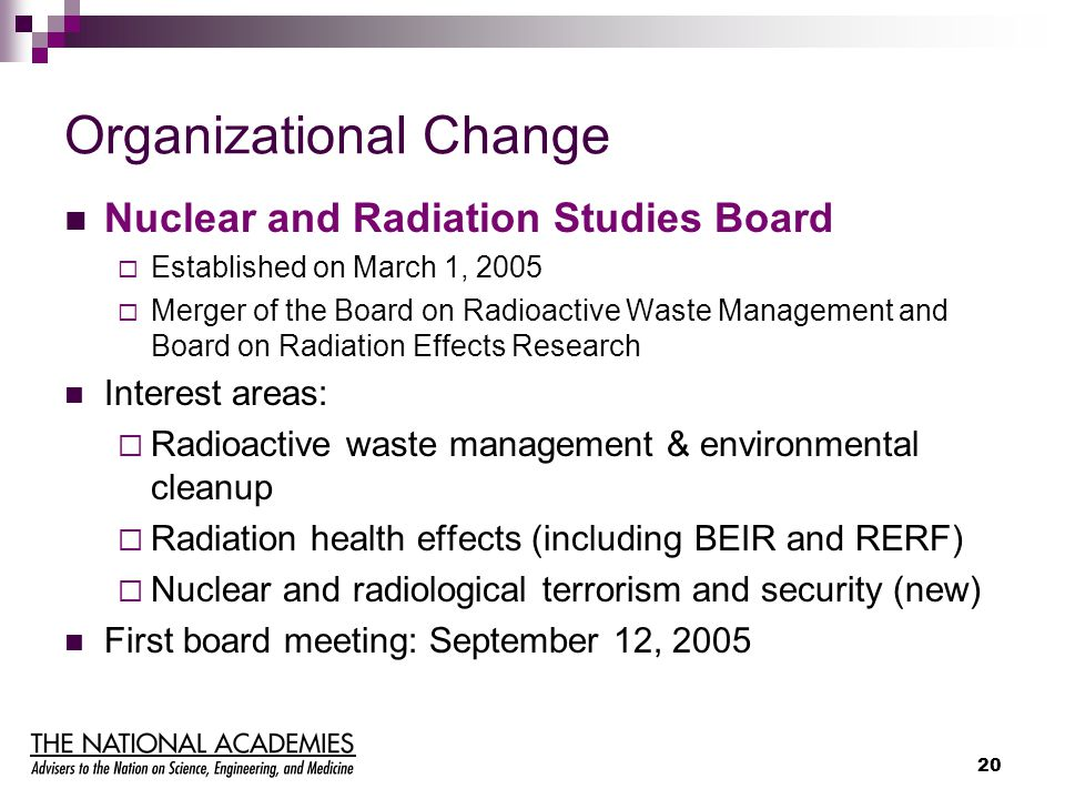 20 Organizational Change Nuclear and Radiation Studies Board  Established on March 1, 2005  Merger of the Board on Radioactive Waste Management and