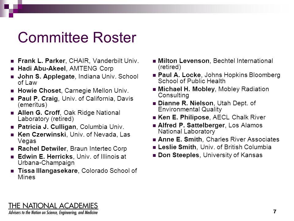 7 Committee Roster Frank L. Parker, CHAIR, Vanderbilt Univ.
