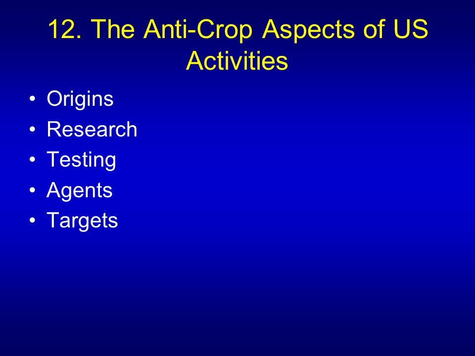 12. The Anti-Crop Aspects of US Activities Origins Research Testing Agents Targets