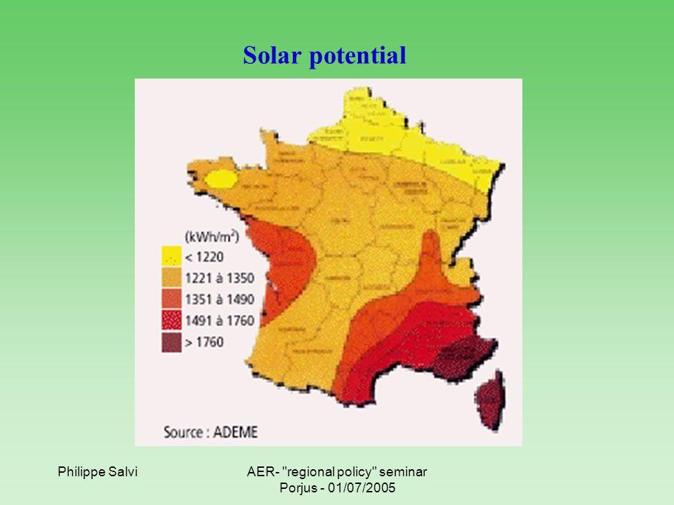 Philippe SalviAER- regional policy seminar Porjus - 01/07/2005 Solar potential