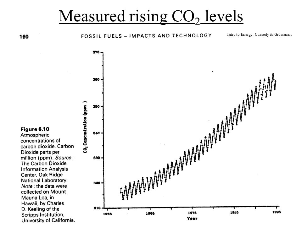 Measured rising CO 2 levels Intro to Energy, Cassedy & Grossman
