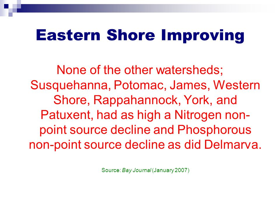 Eastern Shore Improving None of the other watersheds; Susquehanna, Potomac, James, Western Shore, Rappahannock, York, and Patuxent, had as high a Nitr