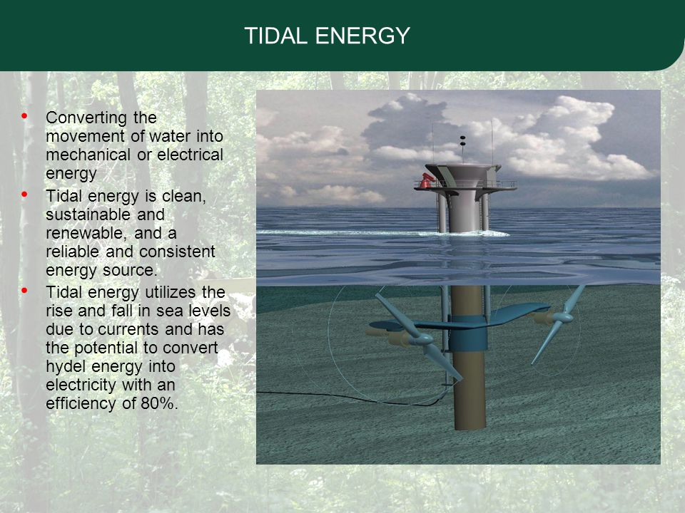 Tidal Energy Potential in India India's geographical location, with oceans and seas on three sides, has brought into focus its enormous potential to harness tidal energy – a fact that has been recognized by the Government of India.