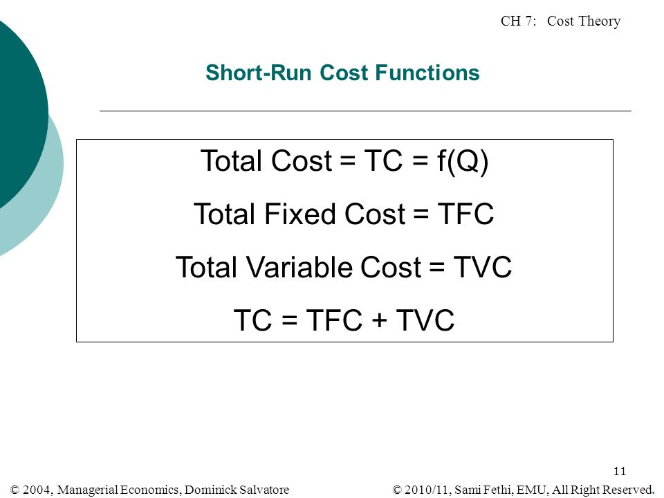 CH 7: Cost Theory © 2010/11, Sami Fethi, EMU, All Right Reserved. © 2004, Managerial Economics, Dominick Salvatore 11 Short-Run Cost Functions Total C