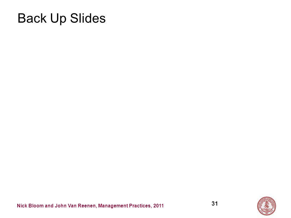 Nick Bloom and John Van Reenen, Management Practices, 2011 Back Up Slides 31