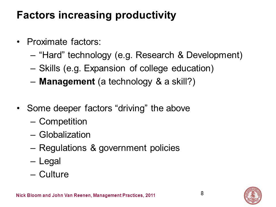Nick Bloom and John Van Reenen, Management Practices, 2011 Factors increasing productivity Proximate factors: – Hard technology (e.g.