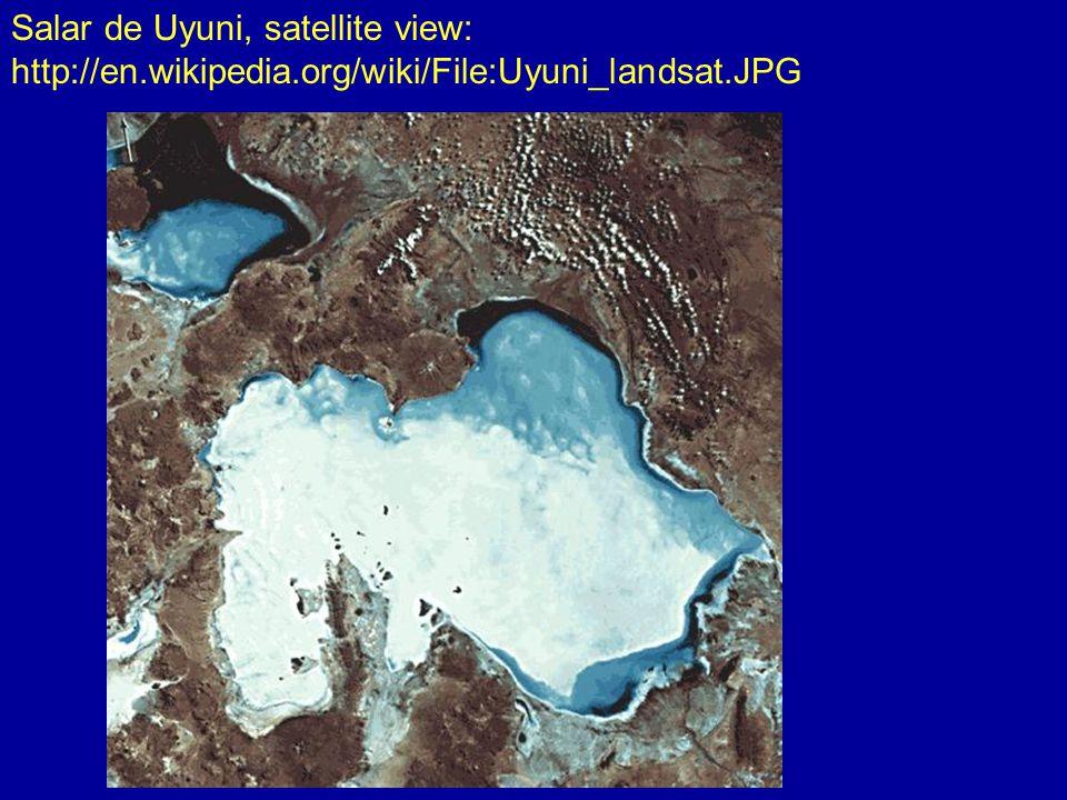 Salar de Uyuni, brine beneath salt crust: http://en.wikipedia.org/wiki/File:Salar_de_uyuni_layers.jpg