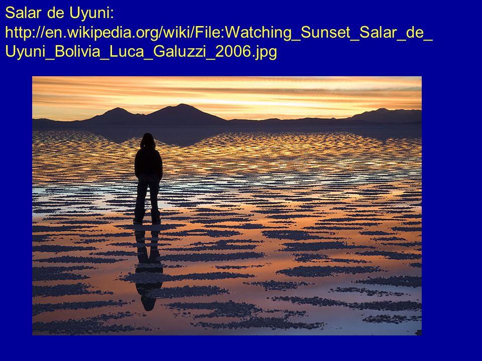 Salar de Uyuni: http://en.wikipedia.org/wiki/File:Watching_Sunset_Salar_de_ Uyuni_Bolivia_Luca_Galuzzi_2006.jpg