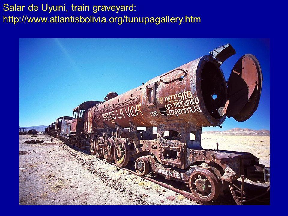 Salar de Uyuni, train graveyard: http://www.atlantisbolivia.org/tunupagallery.htm