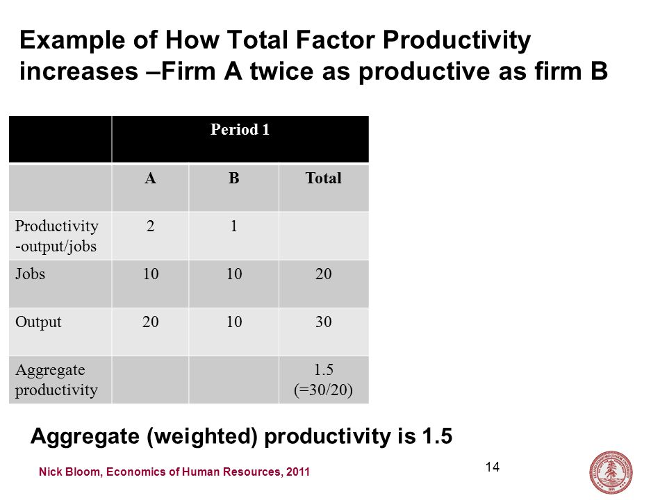Nick Bloom, Economics of Human Resources, 2011 Example of How Total Factor Productivity increases –Firm A twice as productive as firm B Period 1 ABTotal Productivity -output/jobs 21 Jobs10 20 Output201030 Aggregate productivity 1.5 (=30/20) 14 Aggregate (weighted) productivity is 1.5