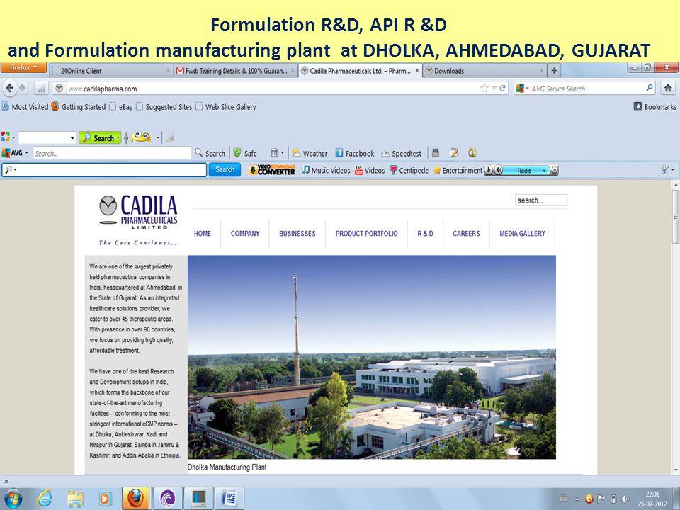 Formulation manufacturing plant at JAMMU