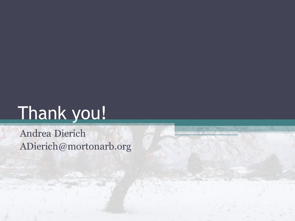 Thank you! Andrea Dierich ADierich@mortonarb.org