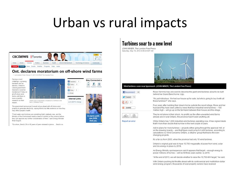 Urban vs rural impacts