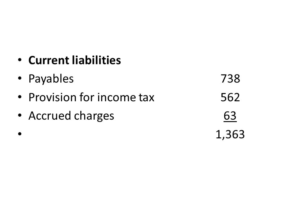 Current liabilities Payables 738 Provision for income tax 562 Accrued charges 63 1,363