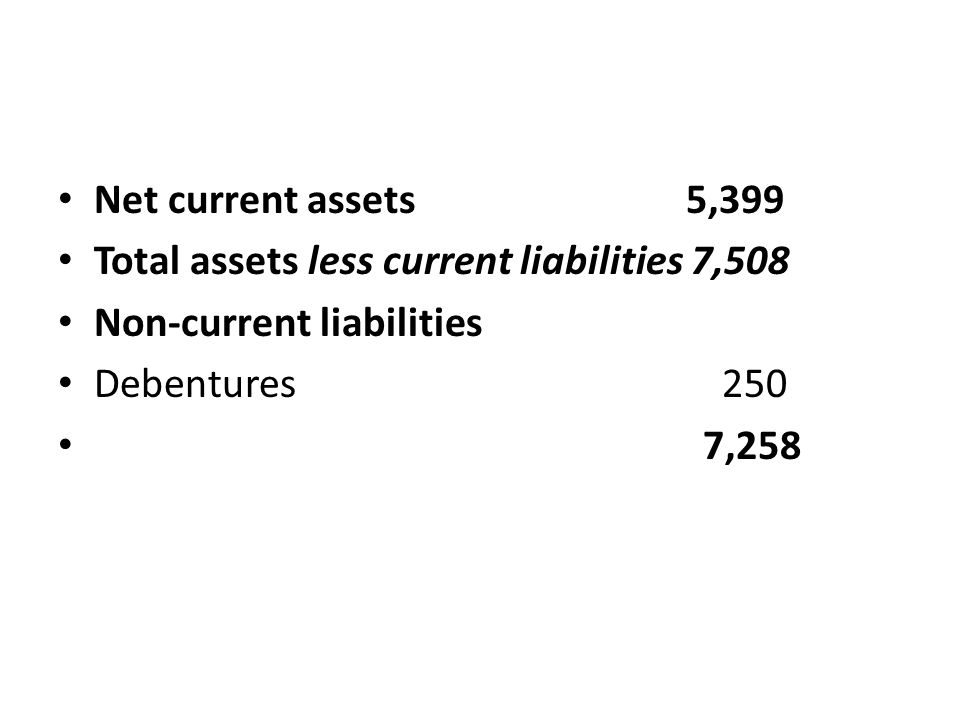 Net current assets 5,399 Total assets less current liabilities 7,508 Non-current liabilities Debentures 250 7,258