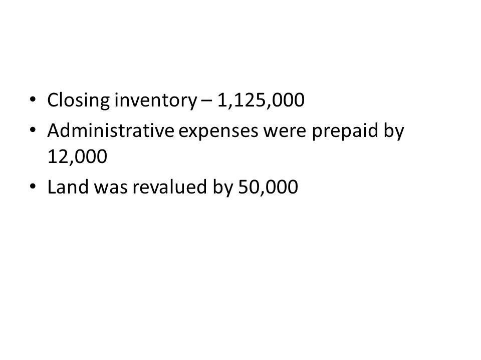 Closing inventory – 1,125,000 Administrative expenses were prepaid by 12,000 Land was revalued by 50,000