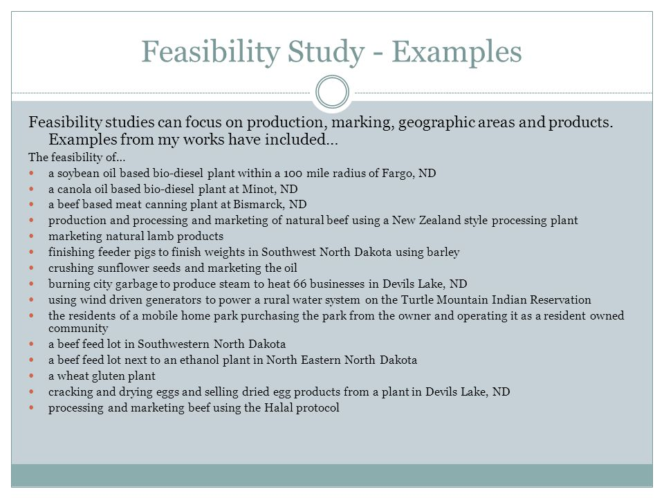 Feasibility Study - Examples Feasibility studies can focus on production, marking, geographic areas and products.