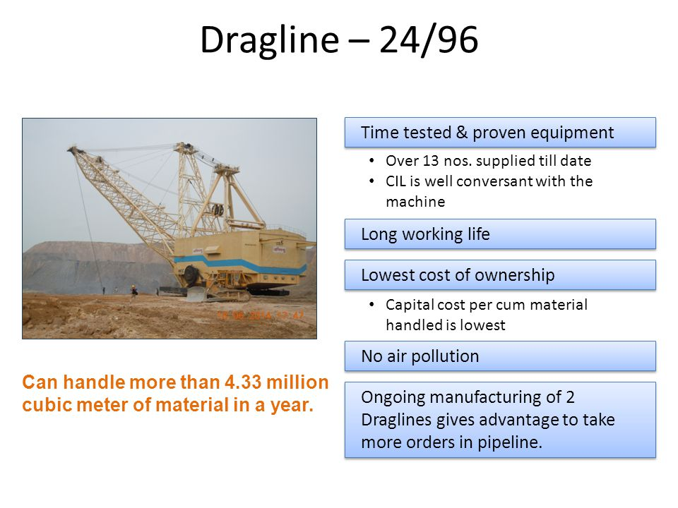 Dragline – 24/96 Time tested & proven equipment Over 13 nos. supplied till date CIL is well conversant with the machine Ongoing manufacturing of 2 Dra