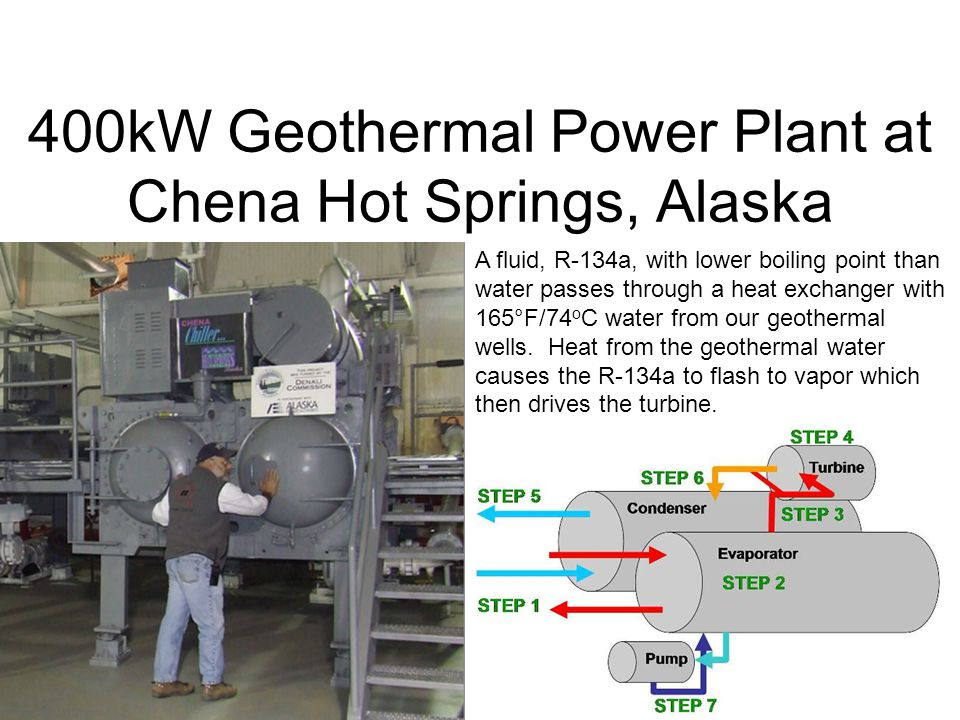 400kW Geothermal Power Plant at Chena Hot Springs, Alaska A fluid, R-134a, with lower boiling point than water passes through a heat exchanger with 16