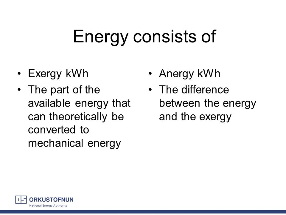 Energy consists of Exergy kWh The part of the available energy that can theoretically be converted to mechanical energy Anergy kWh The difference betw