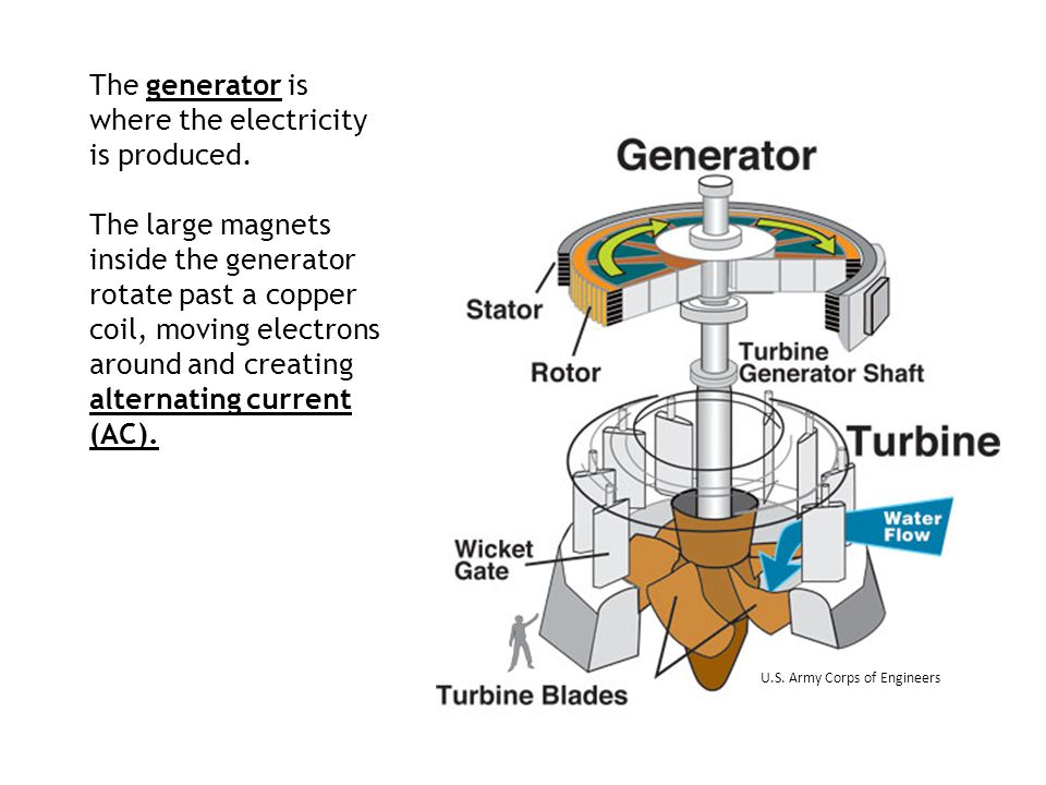 The generator is where the electricity is produced. The large magnets inside the generator rotate past a copper coil, moving electrons around and crea