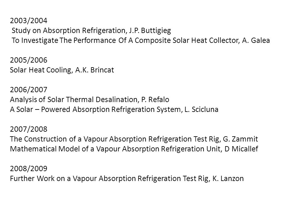 2003/2004 Study on Absorption Refrigeration, J.P. Buttigieg To Investigate The Performance Of A Composite Solar Heat Collector, A. Galea 2005/2006 Sol