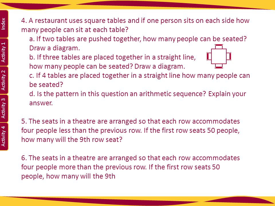 Activity 1 Activity 2 Index Activity 3 Activity 4 4. A restaurant uses square tables and if one person sits on each side how many people can sit at ea