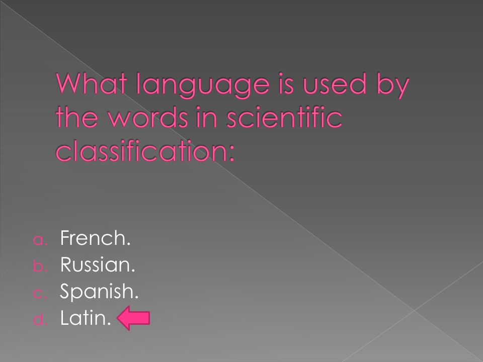 a. French. b. Russian. c. Spanish. d. Latin.