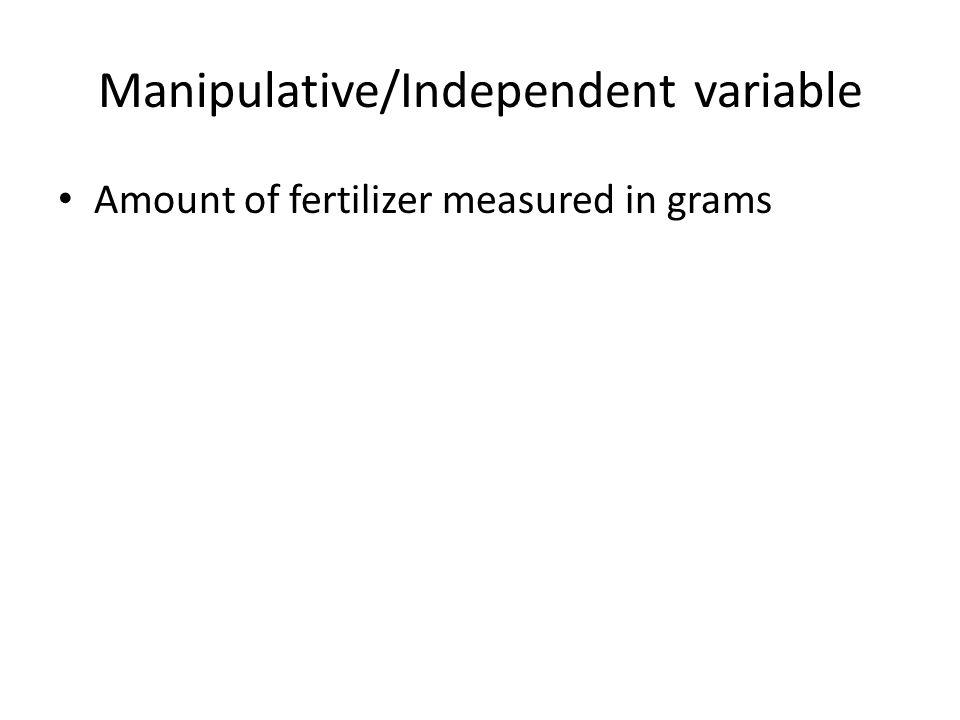 Manipulative/Independent variable Amount of fertilizer measured in grams