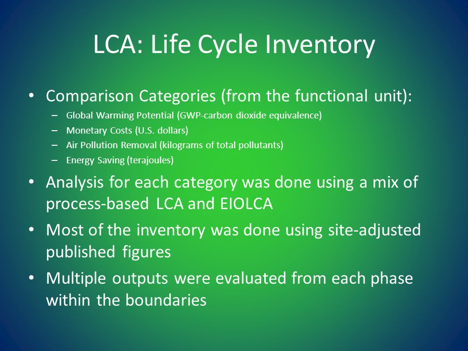 LCA: Life Cycle Inventory Comparison Categories (from the functional unit): – Global Warming Potential (GWP-carbon dioxide equivalence) – Monetary Costs (U.S.