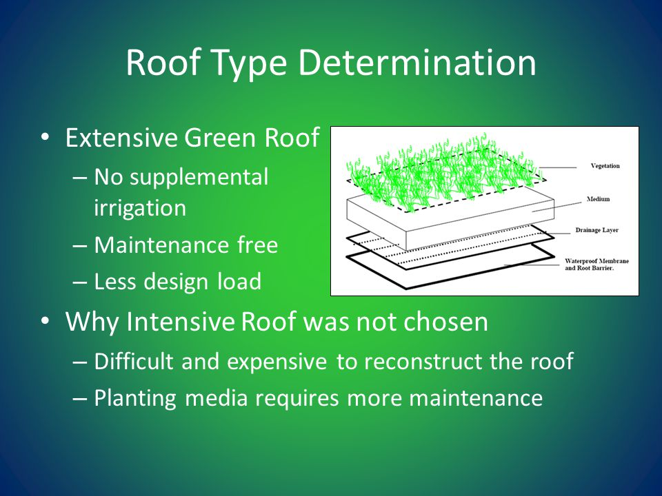 Roof Type Determination Extensive Green Roof – No supplemental irrigation – Maintenance free – Less design load Why Intensive Roof was not chosen – Difficult and expensive to reconstruct the roof – Planting media requires more maintenance