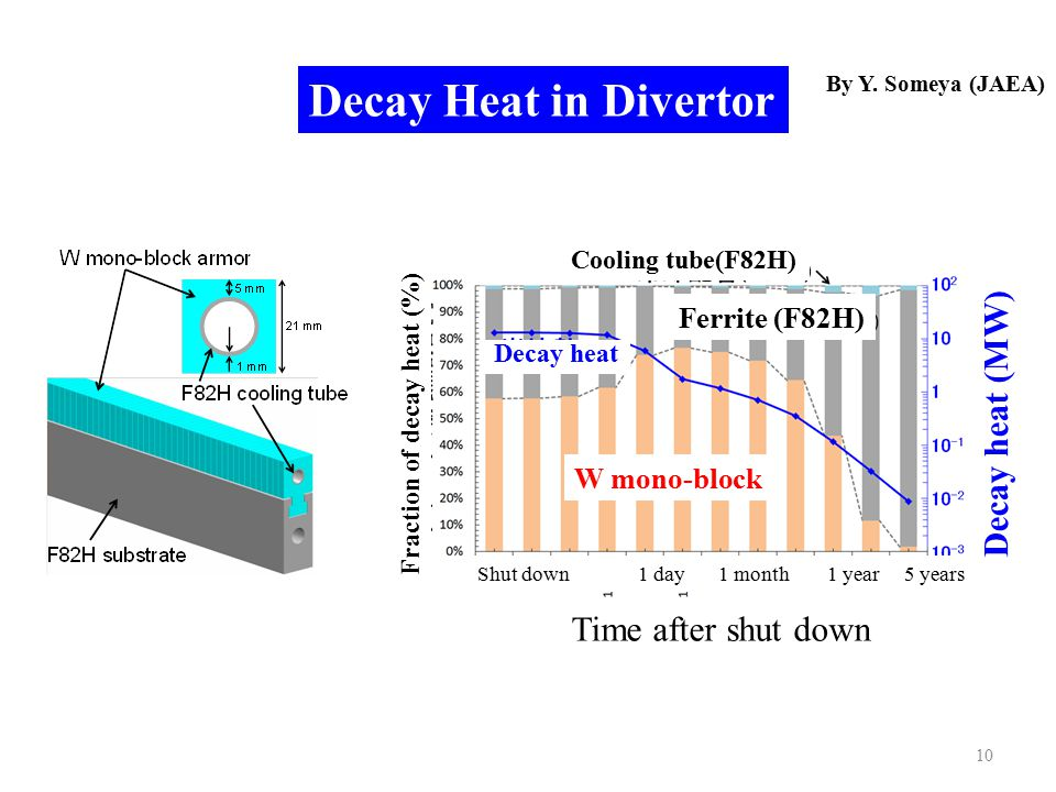 10 Decay Heat in Divertor Shut down 1 day 1 month 1 year 5 years Time after shut down Decay heat (MW) Fraction of decay heat (%) W mono-block Cooling tube(F82H) Ferrite (F82H) Decay heat By Y.