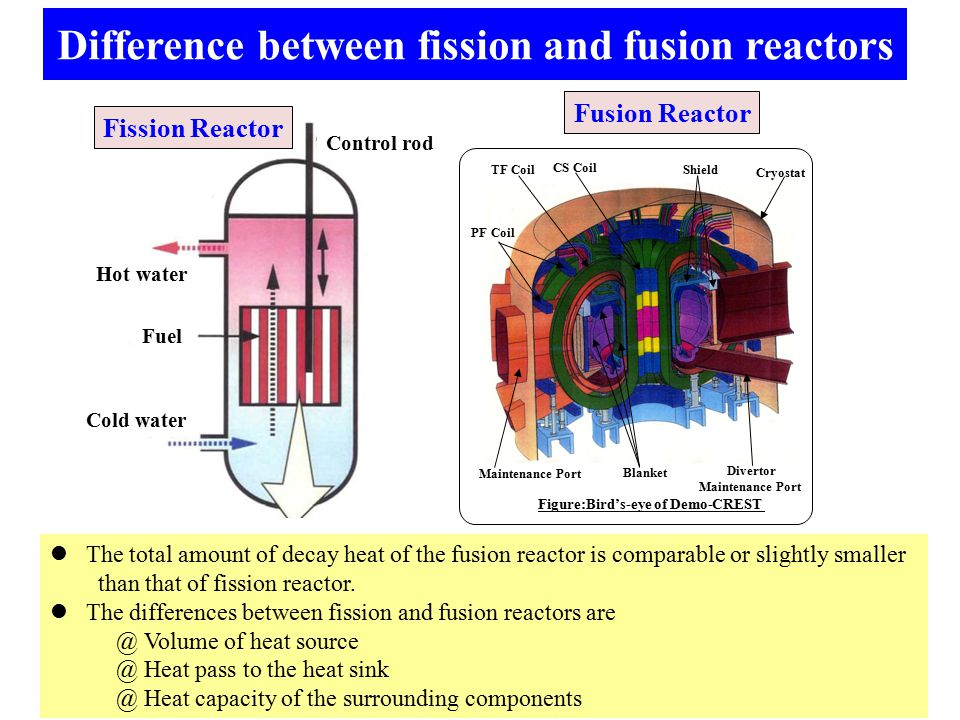 Difference between fission and fusion reactors The total amount of decay heat of the fusion reactor is comparable or slightly smaller than that of fission reactor.