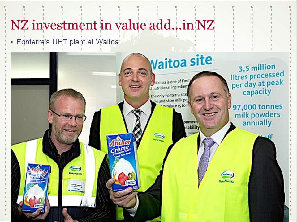 NZ investment in value add…in NZ Fonterra's UHT plant at Waitoa
