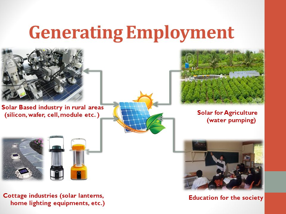 Solar Based industry in rural areas (silicon, wafer, cell, module etc. ) Solar for Agriculture (water pumping) Education for the society Cottage indus